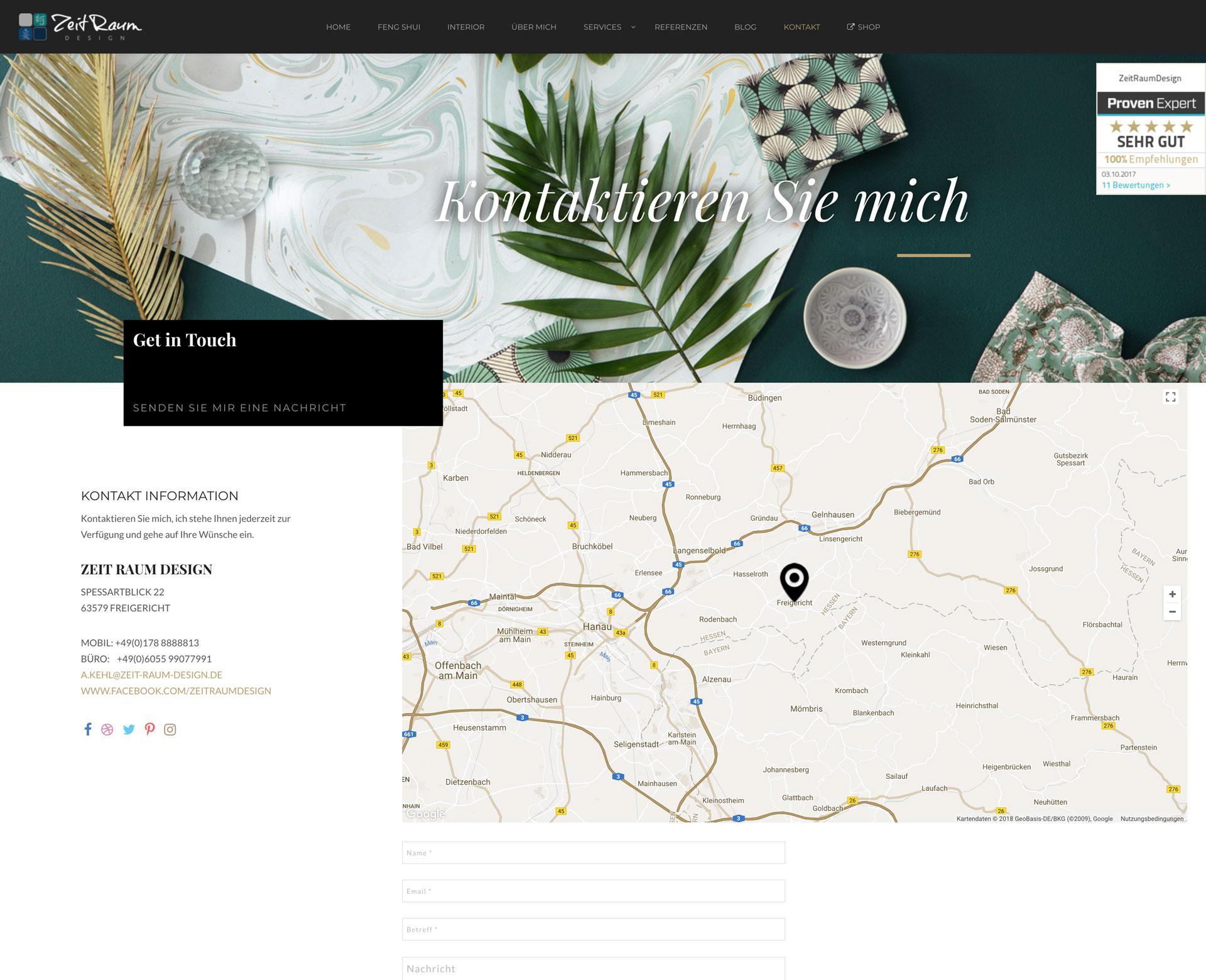 Kontaktseite der referenz zeitraumdesign